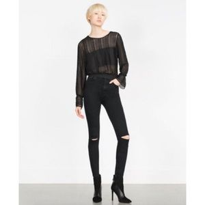 Zara High Rise Skinny Jeans in Washed Black